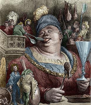 Garguanta aan de maatijd. Illustratie van Gustave Doré bij La vie de Gargantua et de Pantagruel (1532-1564) van Rabelais