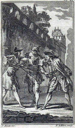 A duel in France during the 18th century. This is NOT a picture of Massialot and La Chapelle!