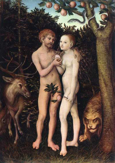 Adam en Eva (ca 1533). Lucas Cranach de Oude (1472-1553) (Wikimedia)