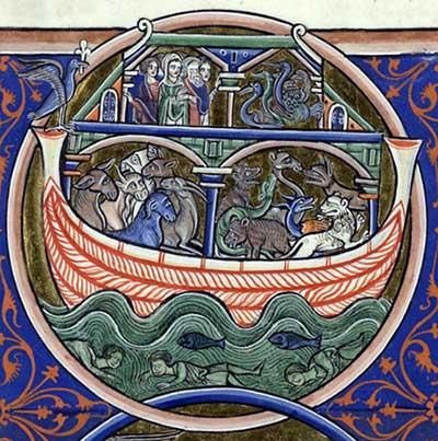 De ark van Noach, met eronder vissen en de verdronken zondaars. Bron: gallica.bnf.fr / BnF, ms 1186 f.13v