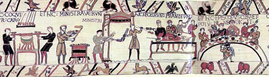 The Bayeux tapestry, depicting William the Conqueror and companions eating