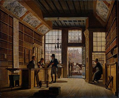 Bookshop of Pieter Meijer Warnars (1820, Johannes Jelgerhuis, Rijksmuseum Amsterdam