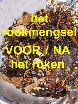 Het rookmengsel voor en na het roken.