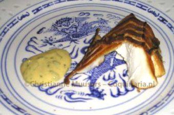 Hot-smoked cod with mustard-cilantro sauce