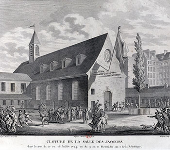 Het Jacobijnenklooster in 1794 tijdens de opheffing van de revolutionaire Jacobijnenclub. Bron: Wikimedia