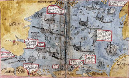 De Noordzee, getekend door Adriaen Coenen (Koninklijke Bibliotheek, Den Haag)