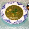 Herb soup with potato dumplings