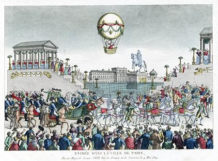 Feestelijke entree van Louis XVIII op 3 mei 1814 in Paijs. Bron Gallica-bnf