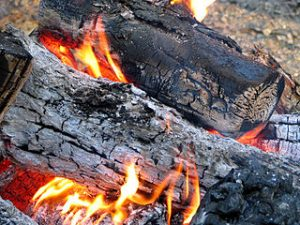 Brandend hout. De as is pot-as. Bron: wikimedia, Louis Waweru