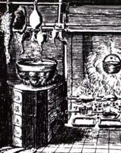 Gemetseld en betegeld fornuis uit de 17de eeuw. Frontispice Verstandige Kok (detail)