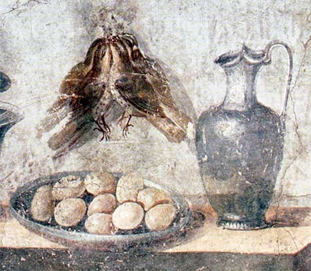 Roman still life with quails and eggs. Source: Wikimedia.