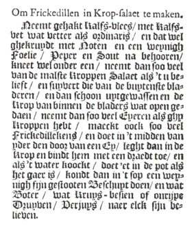 De oorspronkelijke tekst van het recept naar de facsimile-uitgave van 1670.