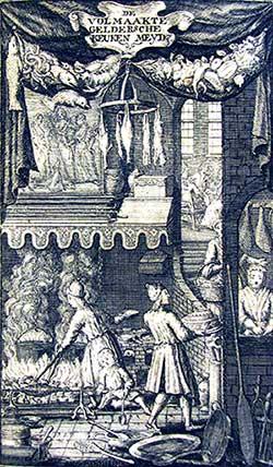 Frontispice van de eerste druk van de Geldersche keukenmeid (1756)