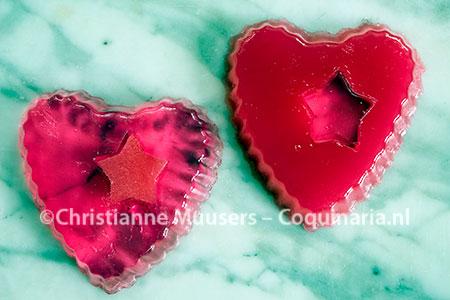 Rozengelei en amandelgelei voor Valentijnsdag