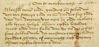 Recipe for must sauce in ms UB Gent 476.