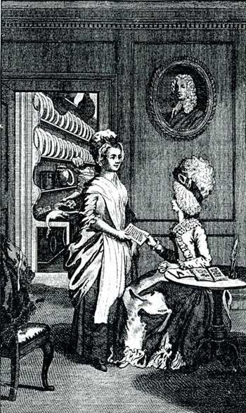 Frontispice van 'The art of cookery' uit 1775