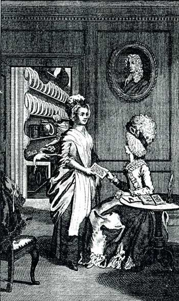 Frontispice of 'The art of cookery' from 1775