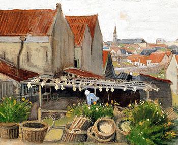 Het drogen van scholletjes. Detail uit een schilderij van Vincent van Gogh (1882, Drooghuis in Scheveningen). Bron: Wikimedia
