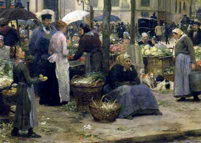 Detail uit Le carreau des Halles, 1880 (Victor-Gabriel Gilbert, 1847-1935) Bron: Wikimedia