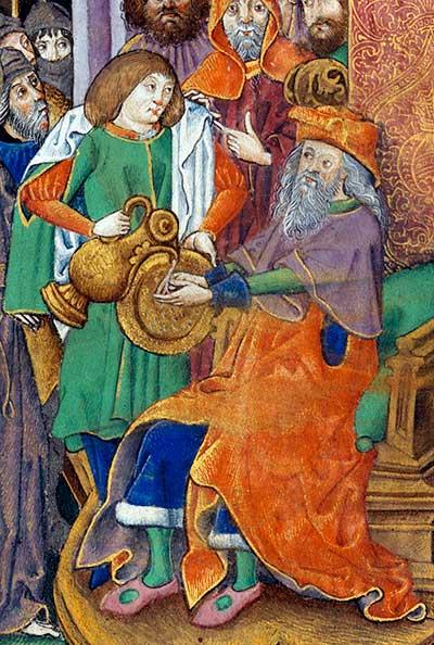Pilatus wast zijn handen in onschuld. Vlaams, ca 1500. Bron: Wikimedia.