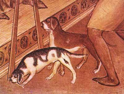 Detail uit 'De bruiloft te Kana' van Giusto de'Menabuoi (ca 1376-1378), Baptisterium van de kathedraal van Padua