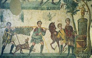 Returning hunting party. Mosaic, Villa Romana del Casale, Sicily, 4th century CE. Source wikimedia, Jerzy Strzelecki