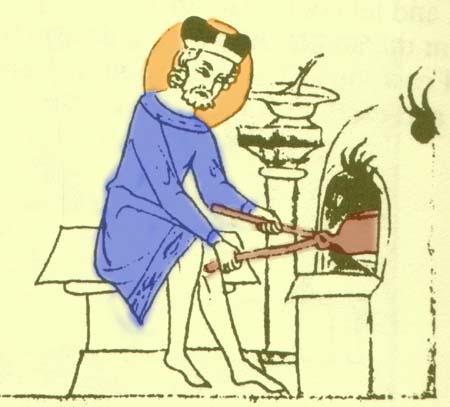 Koning Wenceslaus bakt hosties in een wafelijzer. Bron: Biblia picta Velislai, Praag, 1ste helft 14de eeuw, kleur door mij toegevoegd.