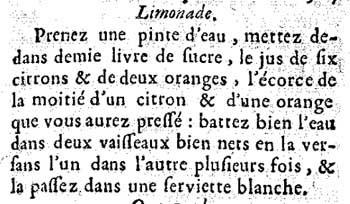 De originele recepttekst van het recept voor limonade