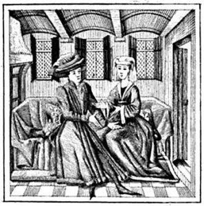 Miniatuur in een van de manuscripten van de Ménagier de Paris. Reproductie uit de 19de eeuw.