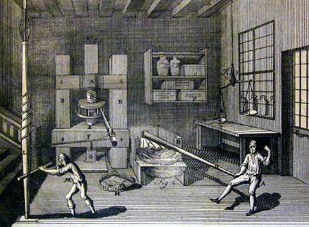 Kneden en vormen van pastadeeg in 1767 (Malouin)