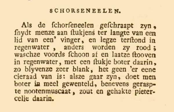 De oorspronkelijke recepttekst uit de 'Nieuwe vaderlandsche kookkunst' (1796)
