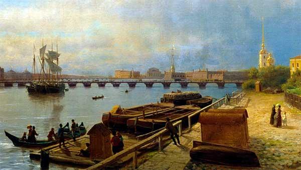 Zicht op de rivier de Neva in Sint Petersburg, Lev Lagorio 1859 (detail) Bron: Wikimedia