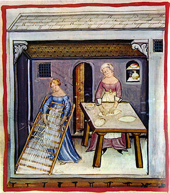Pastamaken met de hand in het Tacuinum Sanitatis (Weense ms)