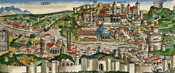 Rome aan het eind van de 15de eeuw (Nüremberg kroniek. Bron Wikimedia). Links op het randje het Colosseum, rechts de Engelenburcht.