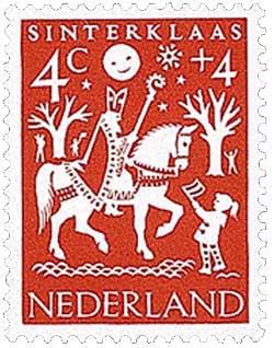 Sinterklaas op een postzegel