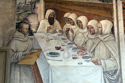 Scene uit het leven van Sint Benedictus,fresco in Monte Oliveto Maggiore by Sodoma (1505-1508). Bron: Wikimedia, user Sailko