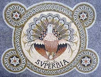 Superbia or Vanity. The peacock is the iconic bird for this sin. Mosaic from the basilic Notre Dame de Fourvière (Lyon, 19th century), Source: Wikimedia.