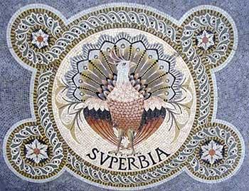 Superbia ofwel ijdelheid. De pauw staat symbool voor deze zonde. Mozaiek uit de basiliek Notre Dame de Fourvière (Lyon, 19de eeuw), Bron: Wikimedia.
