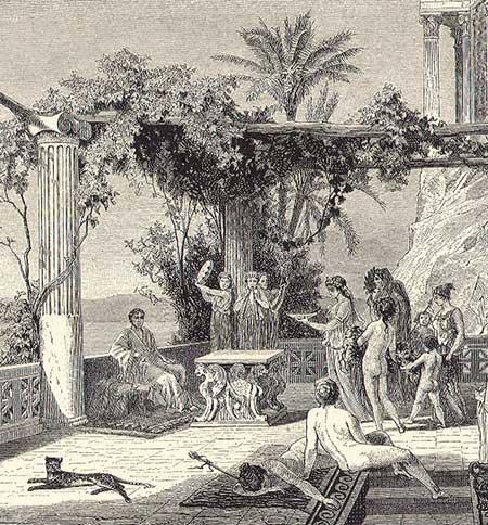 Keizer Tiberius op Capri. Gravure uit de 19de eeuw