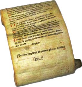 Het eind van het oudste manuscript van 'Le Viandier' (Kantonalbibliothek Wallis, Sion, S 108)