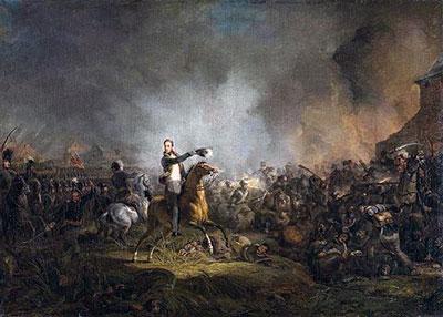 De Prins van Oranje bij de slag bij Quatre-Bras (1815); in 1817 geschilderd door Jan Willem Pieneman (Rijksmuseum, Amsterdam)