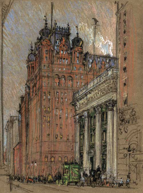 The old Waldorf-Astoria Hotel in New York