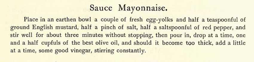 De originele tekst van het recept voor mayonaise