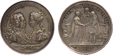 Coin commemorating the marriage between princess Anna and the future Stadtholder Willem IV