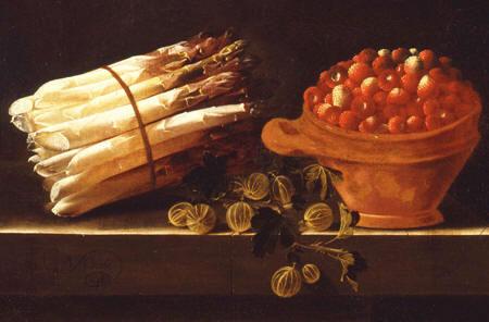 Detail van het Stilleven met asperges met kruisbessen en een pot aardbeien, Adriaen Coorte (1660-1707) (Dordrechts Museum)