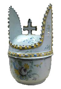Terrine in de vorm van een bisschopsmijter, speciaal voor de drank bisschop (18de eeuw)
