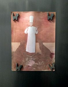 Portrait of Paul Bocuse with his two dogs on the door of my refrigerator