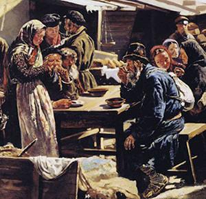 Vladimir Makovski, De boerenmarkt in Moskou (1875), detail. Bron: Wikimedia