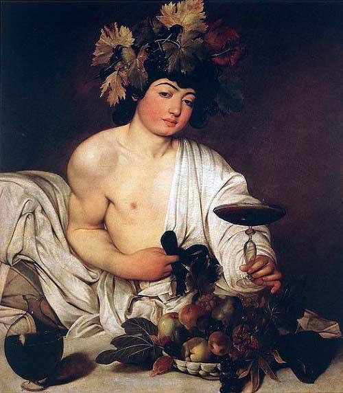 Bacchus (1595), door Caravaggio (1571-1610), Uffizi Museum, Florence)