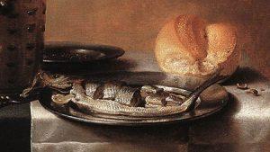 Pieter Claesz, Still life with beer and pickle herring (1636, detail, Museum Boymans van Beuningen, Rotterdam. Source: Wikimedia)